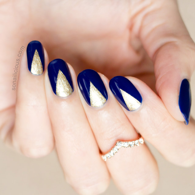 Edgy Blue And Gold Nails With Sea Siren Navy Seal