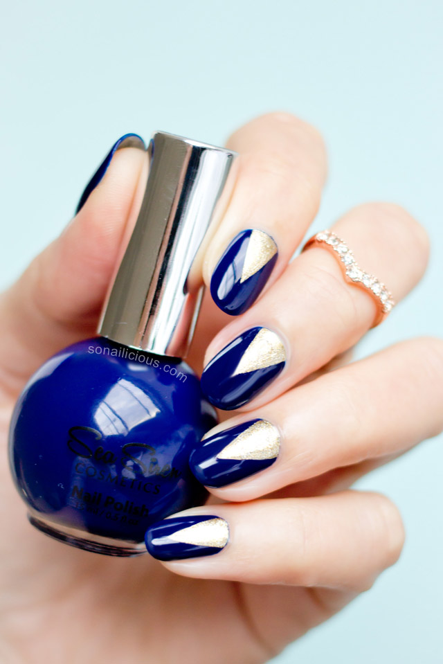 blue and gold nails sea siren navy seal by @SoNailicious