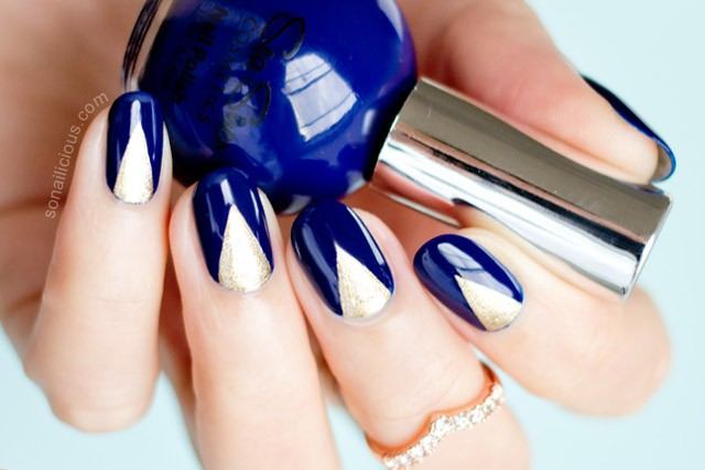 blue and gold nails sea siren navy port - SoNailicious