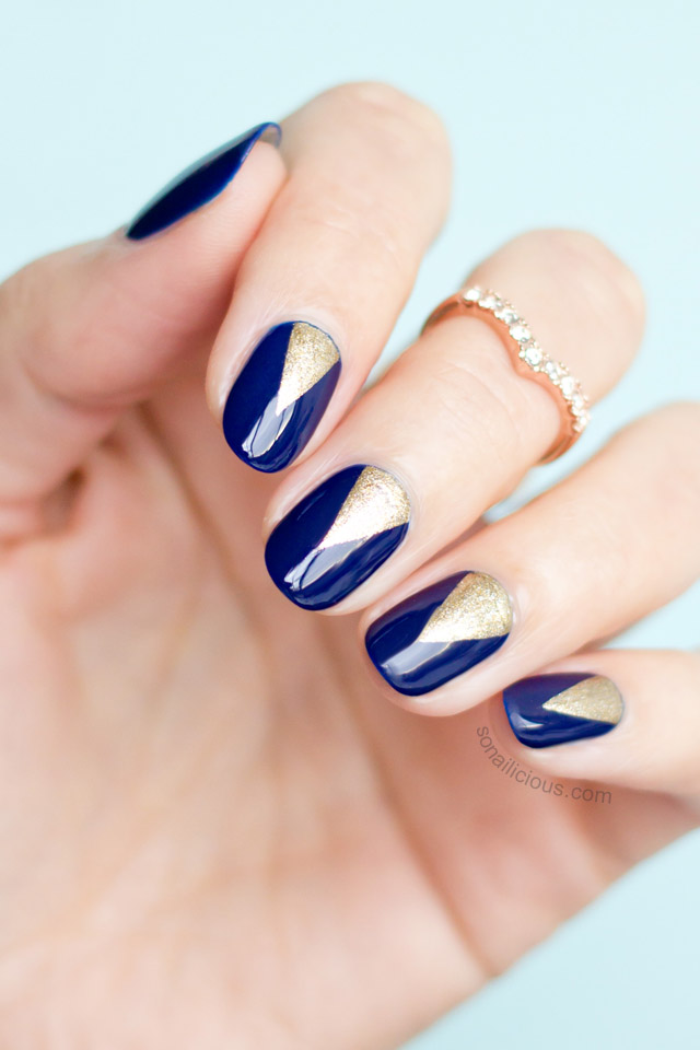 Blue And Gold Nails With Sea Siren Navy Seal