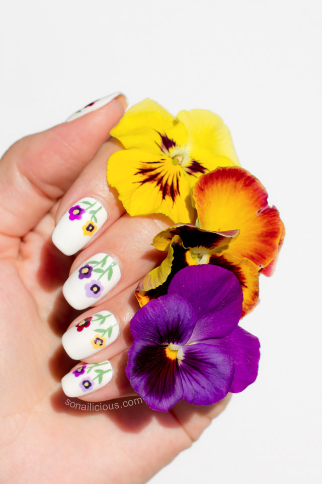 pansy flower nail art