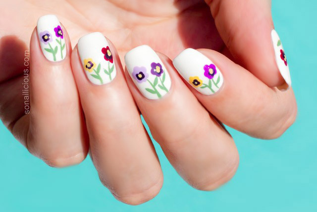 pansy flower nail art tutoriall