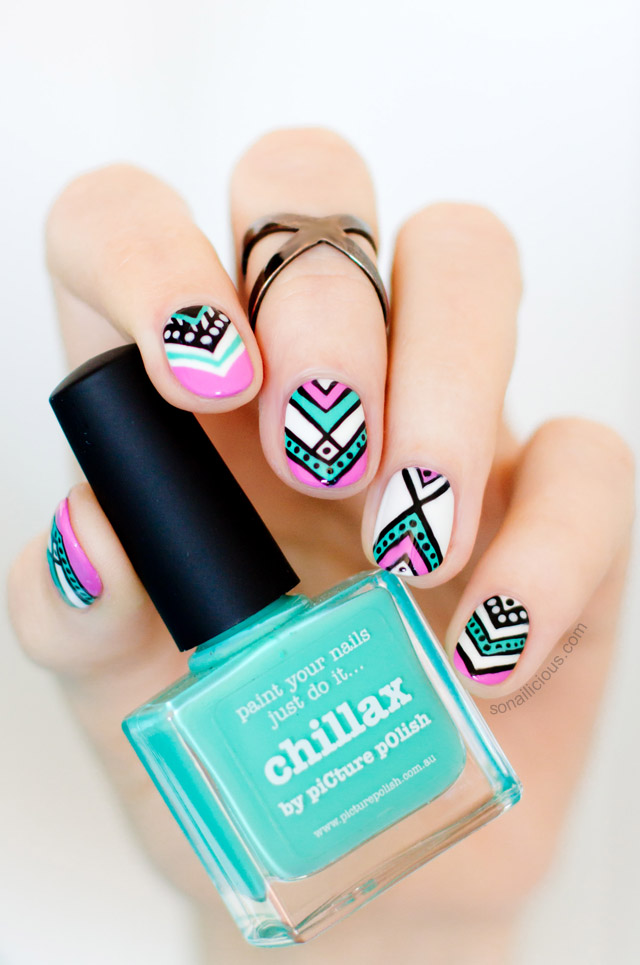 Aztec Nails with picture polish chillax