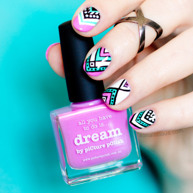 Aztec Nails with picture polish dream