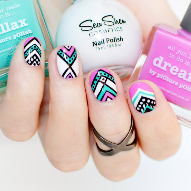 Aztec nail art for short nails