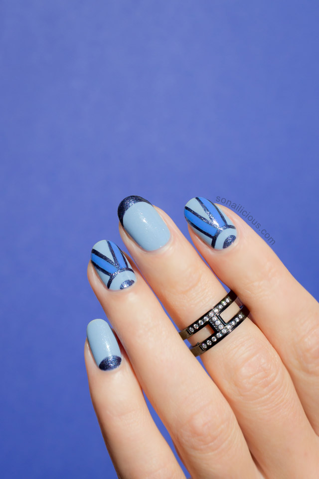 beautiful blue nail design