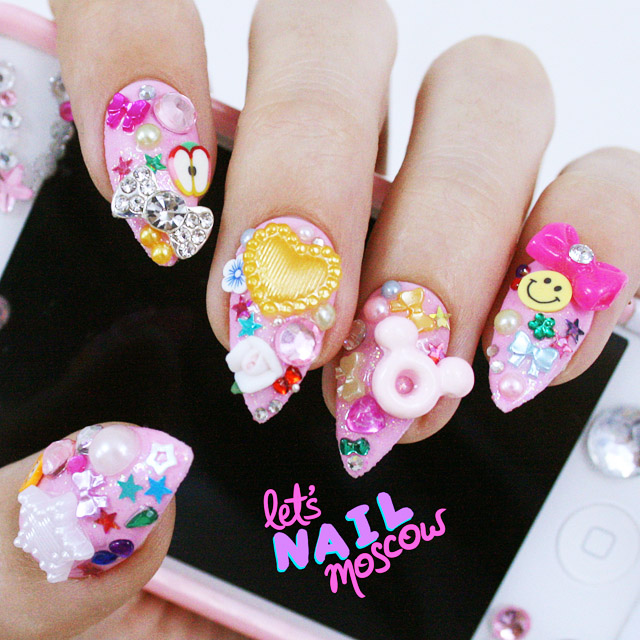 3d kawaii nails inspired by Tokyo