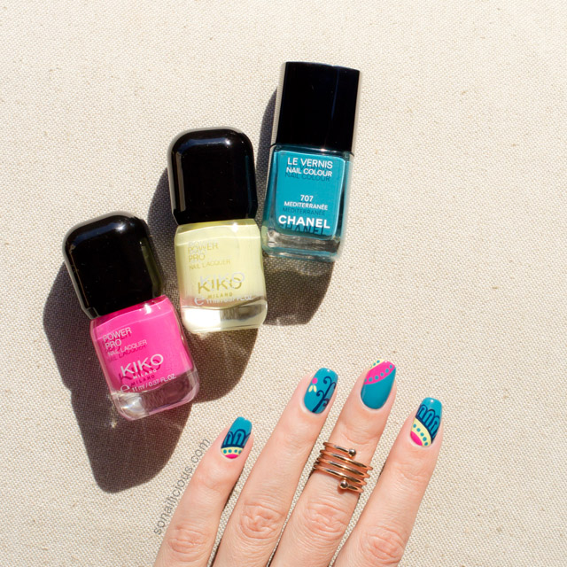 Teal Nails With Mediterranean Print