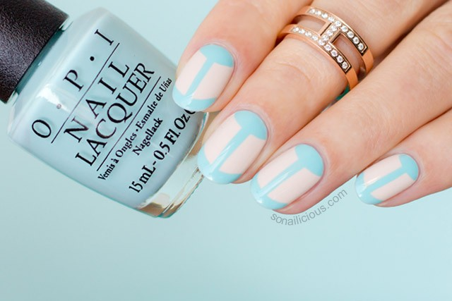blue french manicure