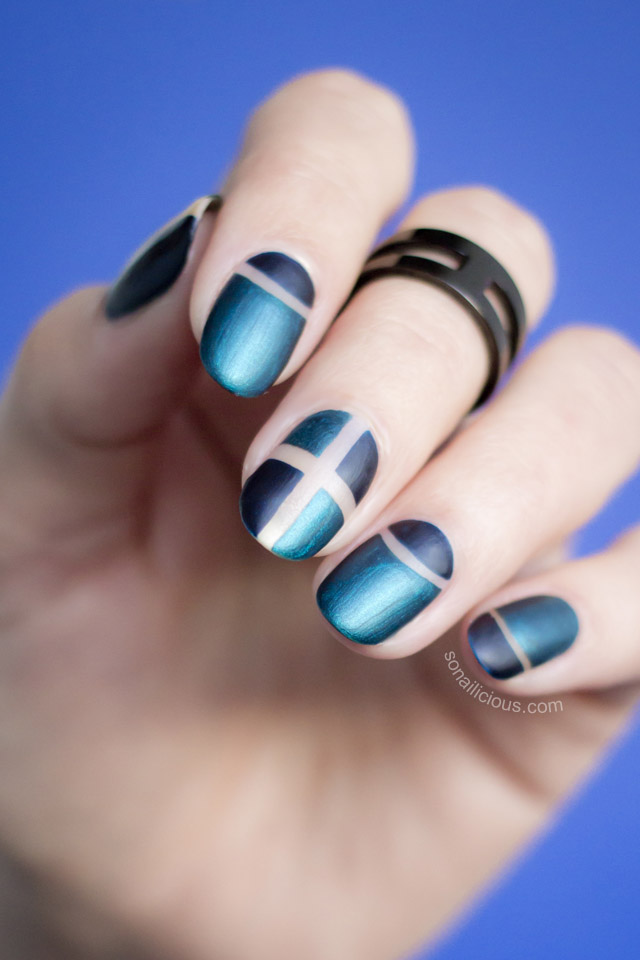 matte negative space nails