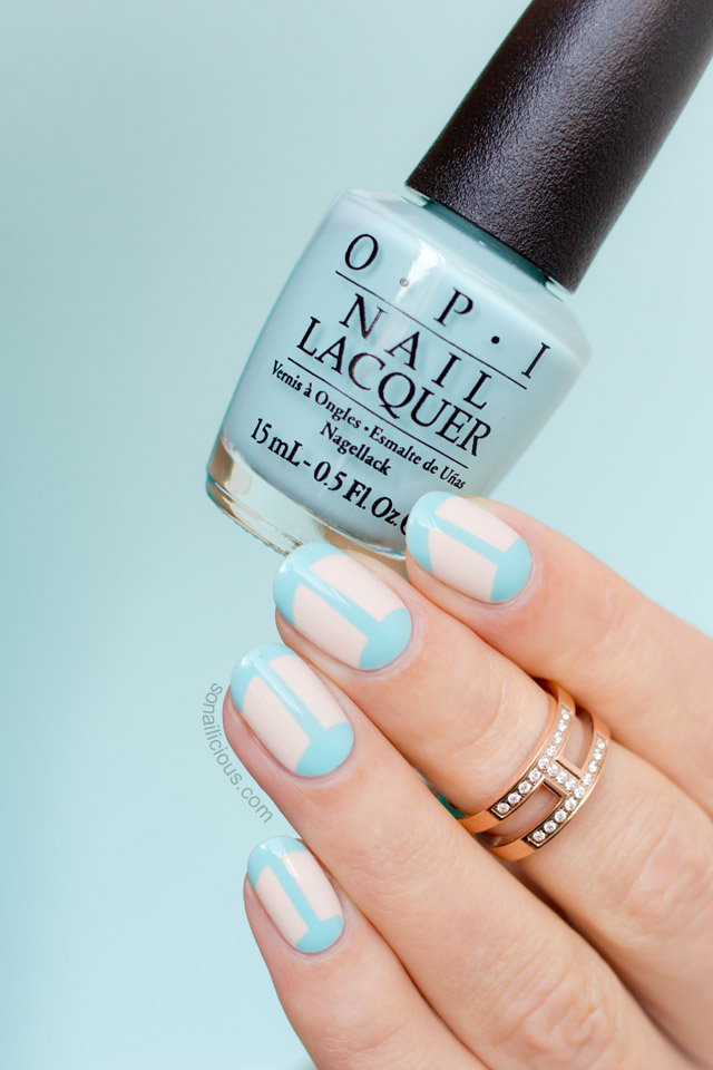 blue french manicure, OPI Gelato on my mind