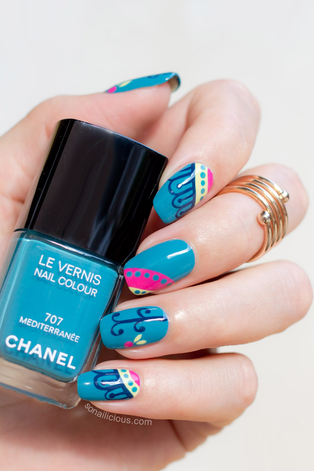 teal nails chanel mediterranee