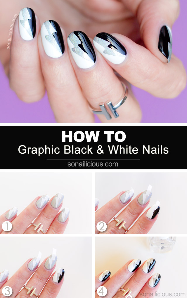 black and white nail art tutorial