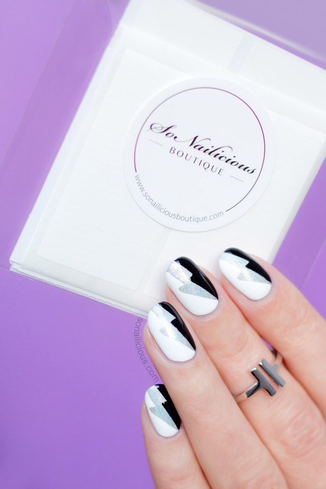 black and white nail art with nail stencils