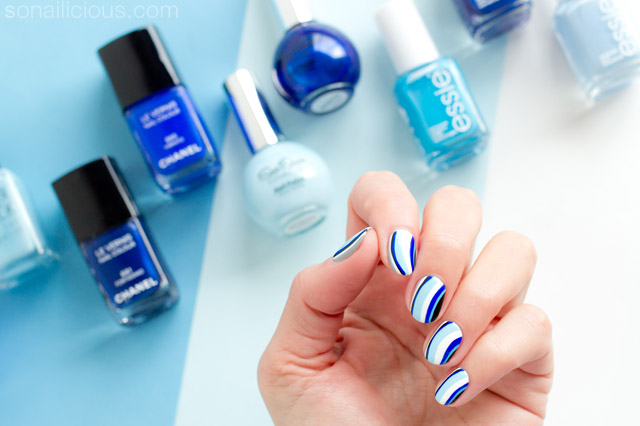 6 shades of blue nail art tutorial blue nails with chanel vibrato blue nail art prinsesfo Gallery