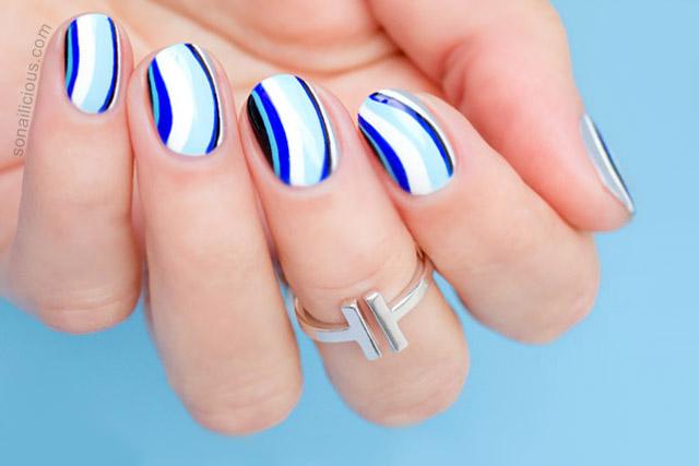 Shades of Blue Nail Art - Tutorial