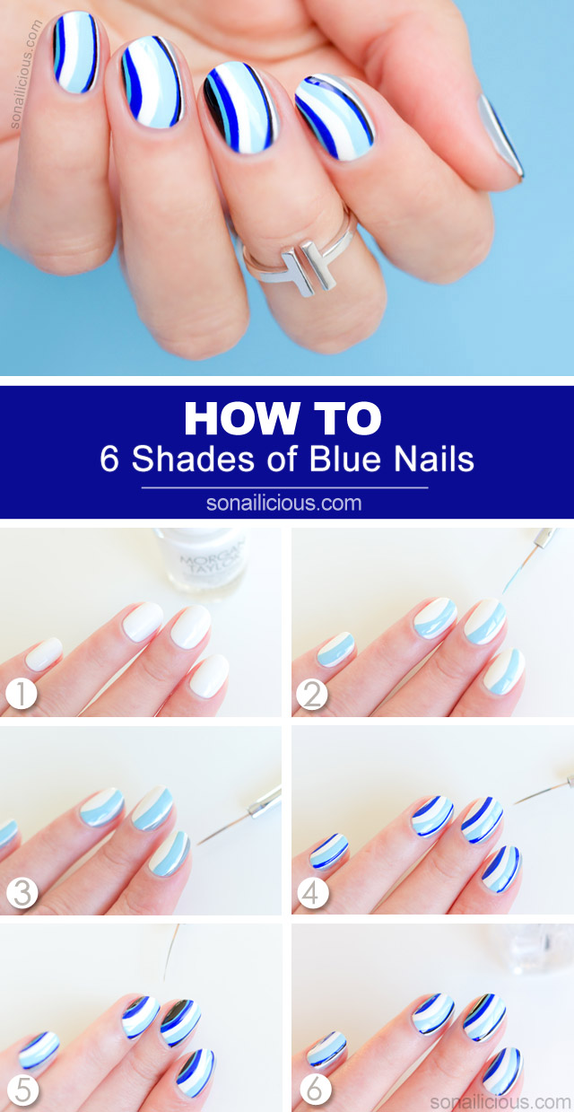 blue nail art tutorial