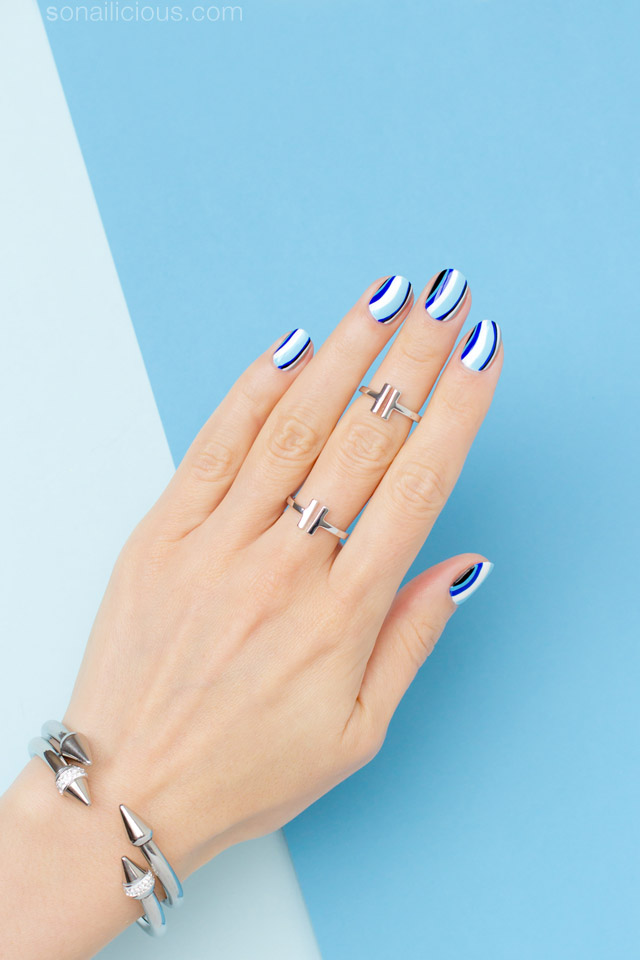 6 Shades of Blue Nail Art - Tutorial