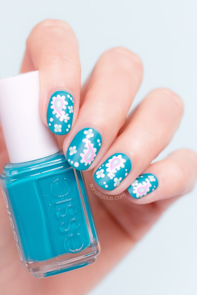 paisley nail art with essie garden variety