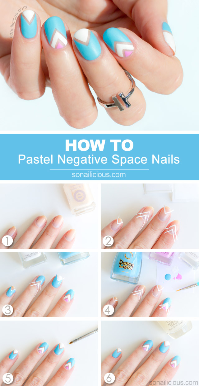Pastel Negative Space Nail Art - Tutorial