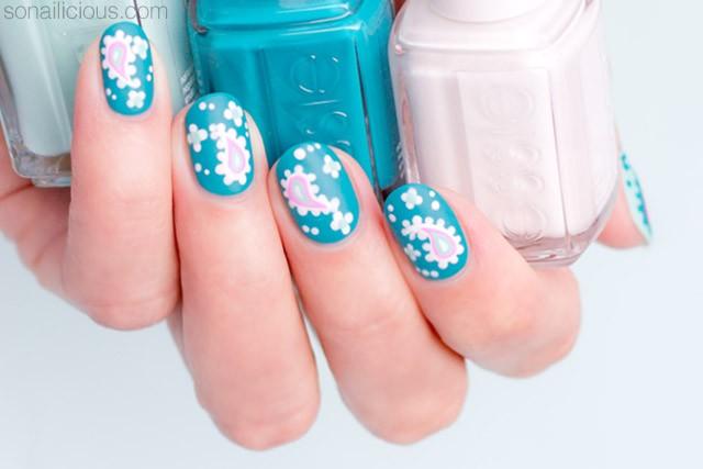 paisley nail art for short nails