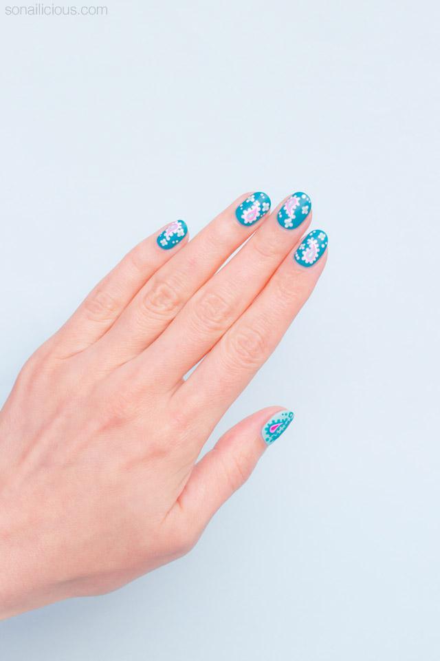pretty paisley nail art for short nails