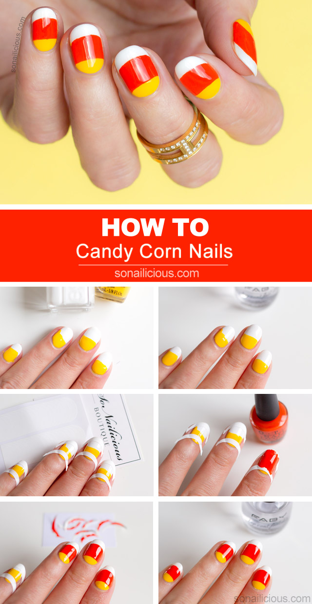 Candy Corn Nail Art Tutorial Sonailicious