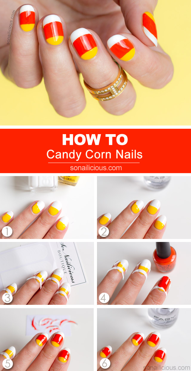 candy corn nail art tutorial
