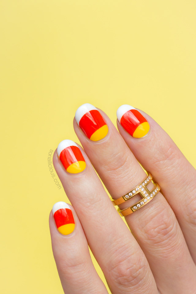 Candy Corn Nails For Halloween Tutorial