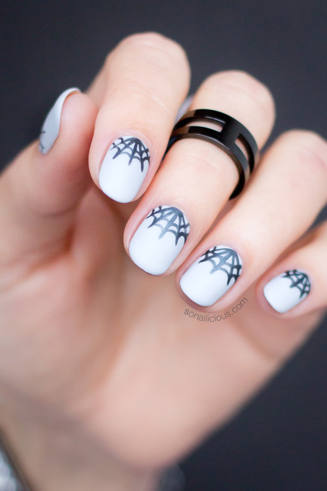 Half Moon Spider Web Nails For Halloween