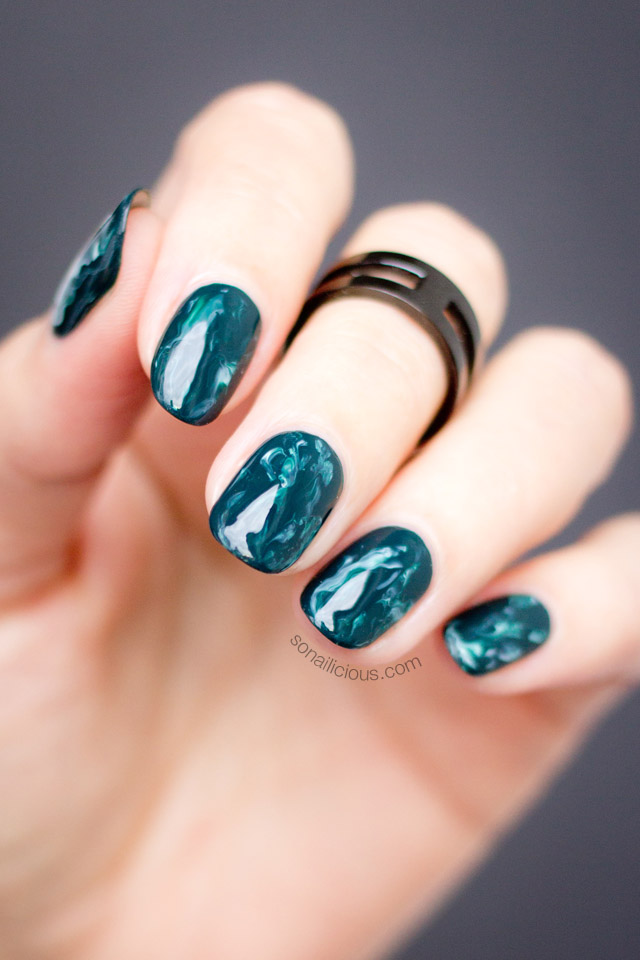 Mani Monday: Green Marble Nails | SoNailicious | Bloglovin\'