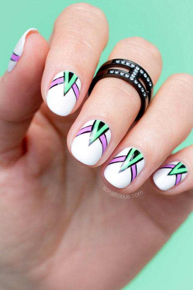 neon abstract nail art