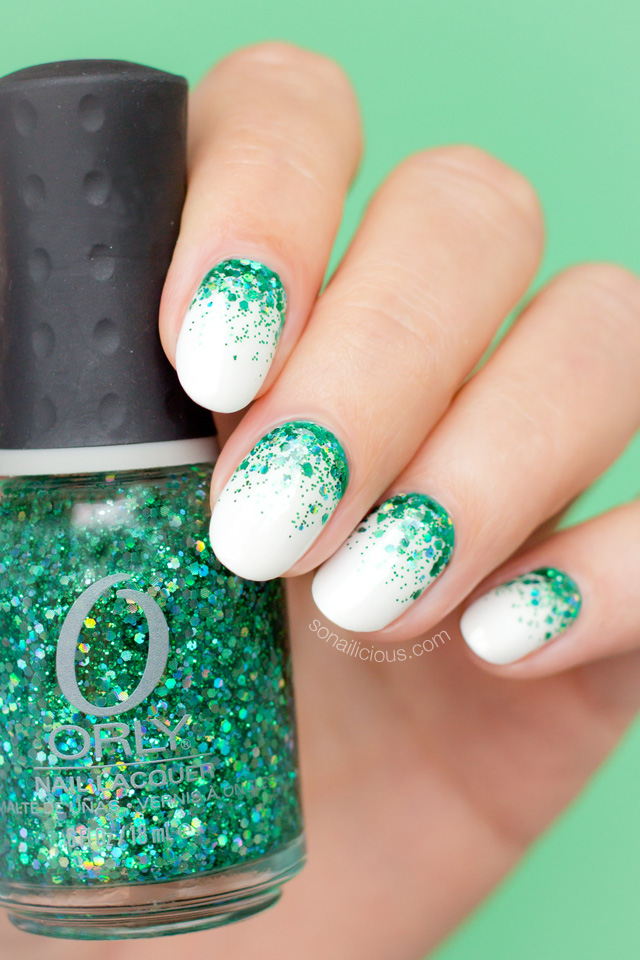 Emerald green Christmas nails with orly mermaid tale