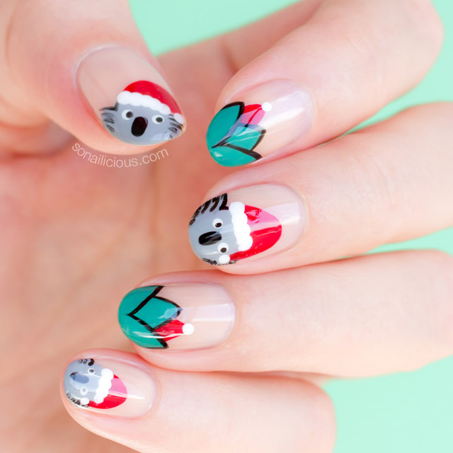 cute santa koala christmas nails