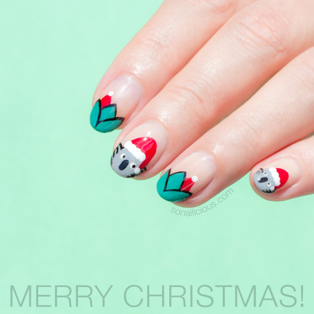 Merry Christmas Plus Santa Koala Christmas Nails