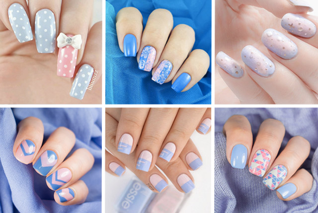 20 beautiful pink and blue nails