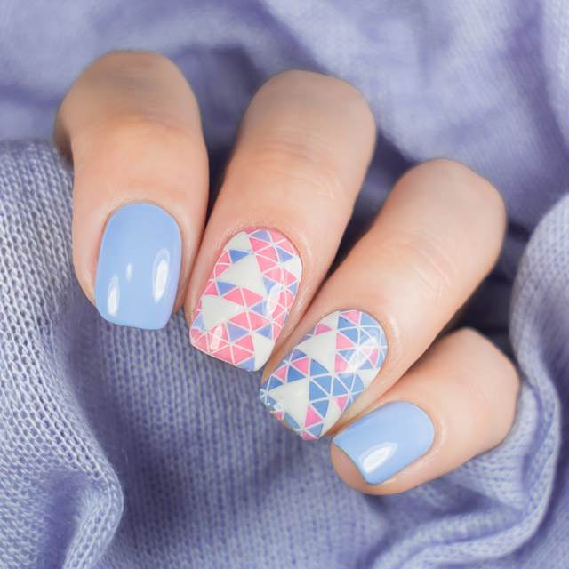 Double accent manicure by @super_gizmo. Geometric pink and blue nails ... - 20 Incredible Pink And Blue Nails [Pantone 2016 Round-Up]