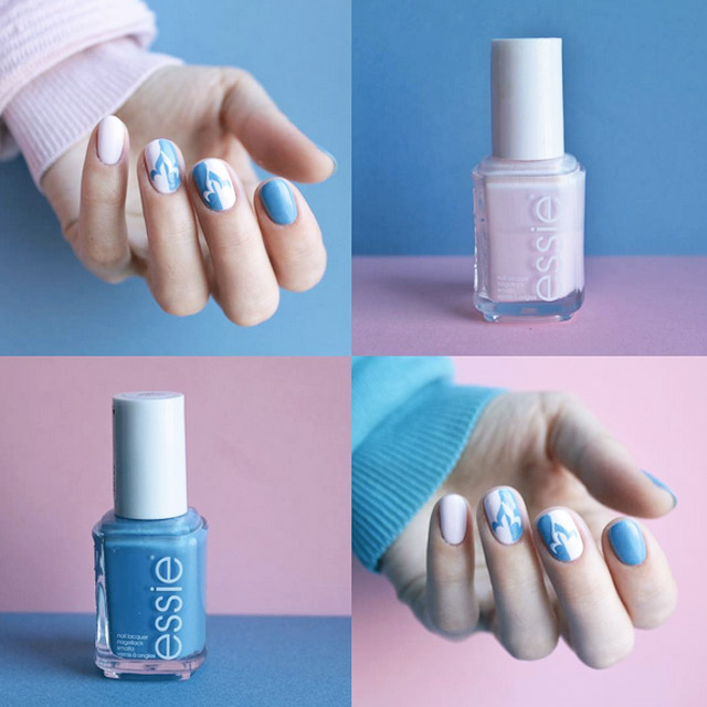 Elegant pink and blue nails by @natashkinskas