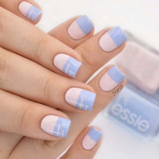 Minimalist Rose Quartz and Serenity manicure by @beautyaddictedd
