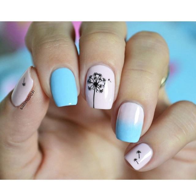 Pink and blue spring nails by @sabina0031