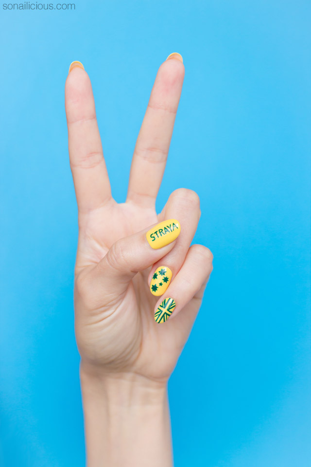 Green and yellow australia day nail art australia day nails prinsesfo Images