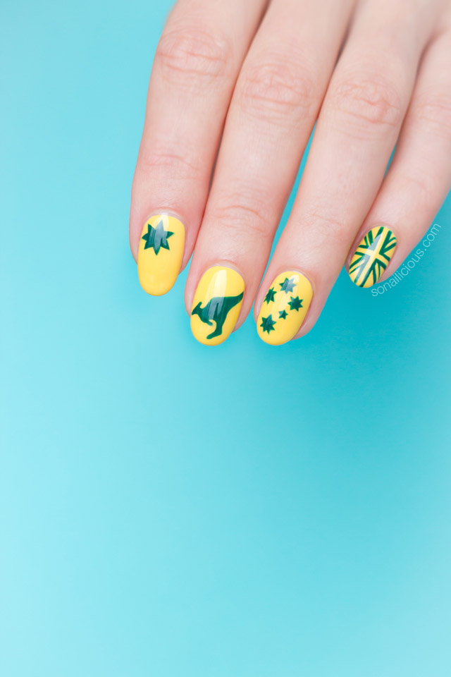 green and yellow australia day nails