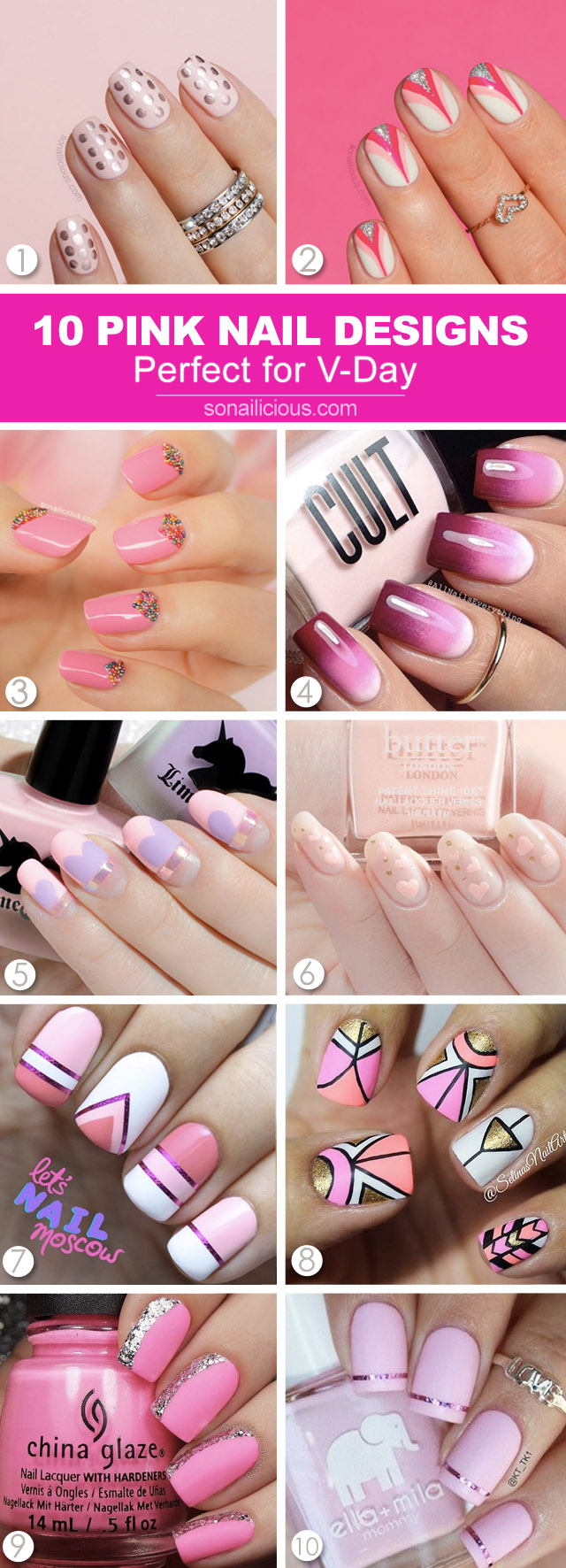 10 best pink nail designs, pink valentie's day nails