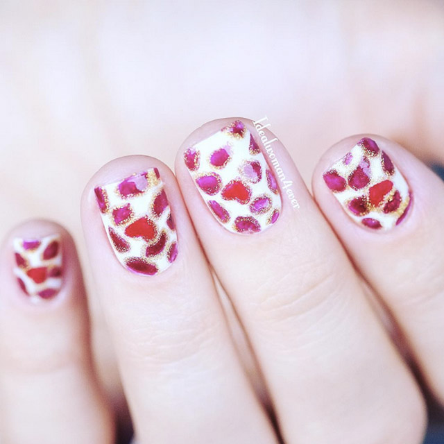 Delicate Love heart nails by @idealwoman4ever