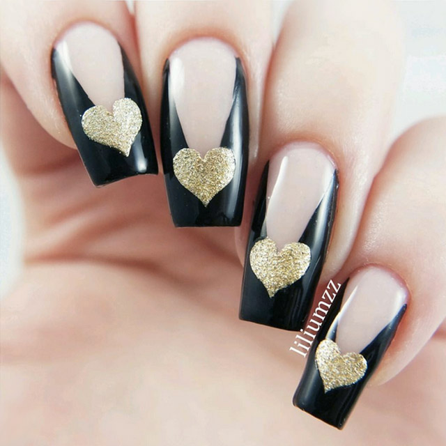 Edgy Valentine's Day nails by @liliumzz
