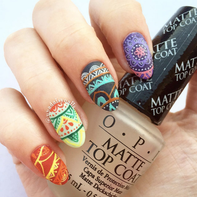 Intricate Easter Egg pattern nails by @upadaisynails