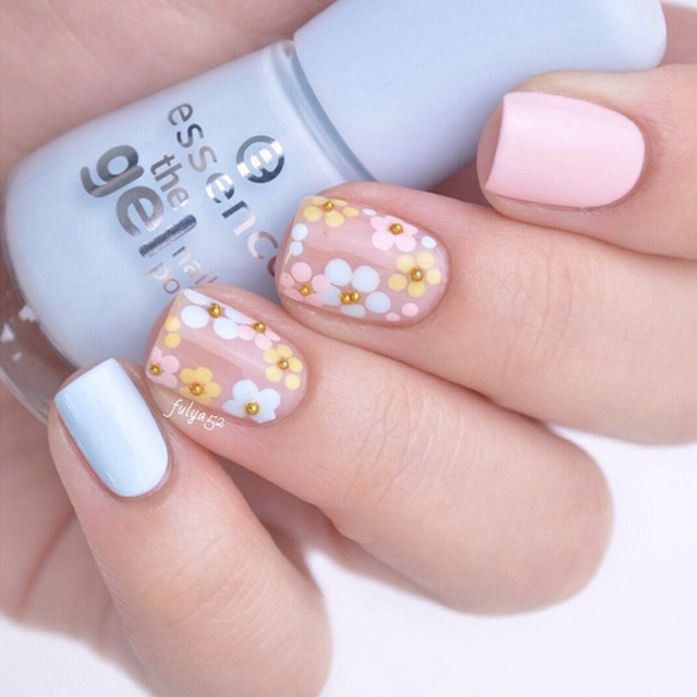 Negative Space Floral manicure by @beautyaddictedd - Easter Nail Designs: 20 Edgy Ideas To Try This Easter