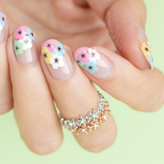 floral nail art, flower nail art