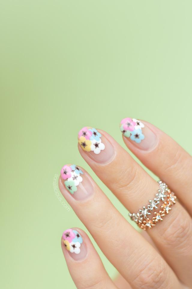 floral nail art, spring nail art - SoNailicious