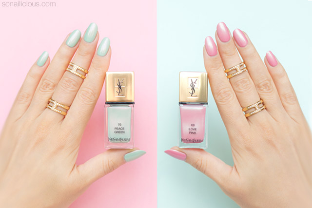 ysl peace green swatch, ysl love pink swatch, review